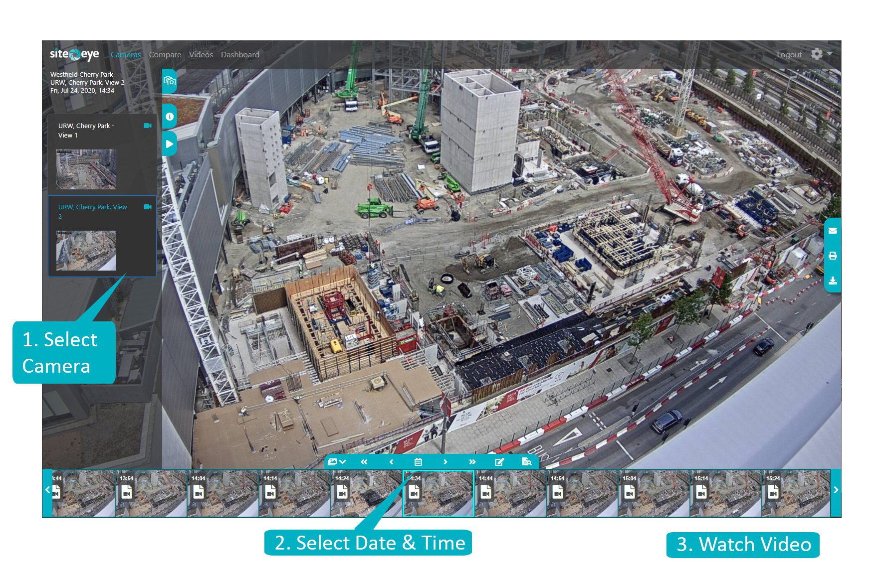 Image taken from the Site Eye Portal showing a Sitestream camera.